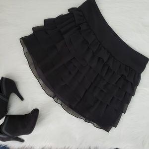 Express Dressy Black Ruffled Mini Skirt Womens 8